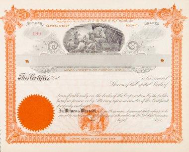 U.S. Stock Certificate Mining Company 1898 Miners