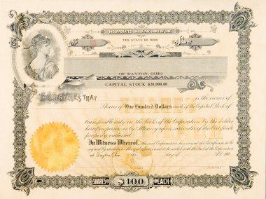 Old Stock Certificate Ohio USA Woman Star Vignette