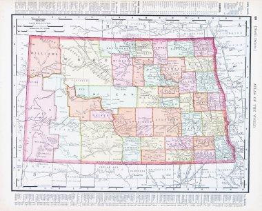 Antique Vintage Color Map of North Dakota, USA