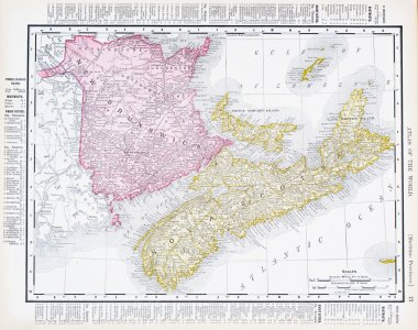 Antique Map Canadian Maritime Provinces, Canada