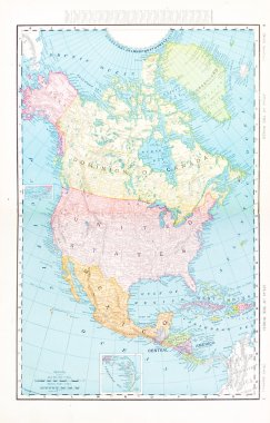 Antique Color Map North America Canada Mexico, USA