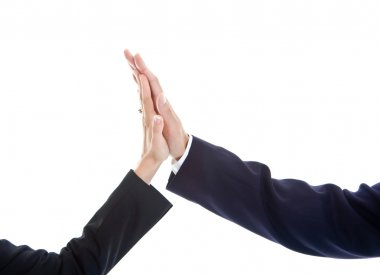 Business Man Woman Hand Giving High Five Isolated