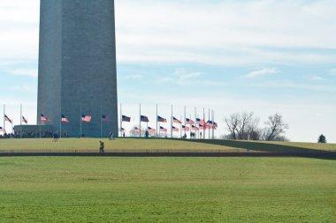 Base Washington Monument Surrounded American Flags