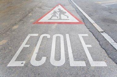 School Zone Warning on Street, Geneva Switzerland, French, Ecole