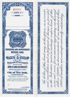 1000 One Thousand Dollar Railroad Bond on White 1900