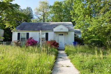 XXXL Front View Abandoned Foreclosed Cape Cod Home Long Grass