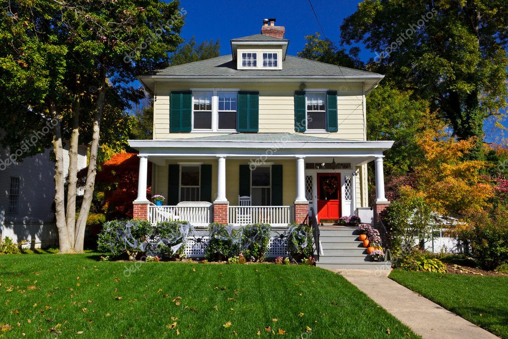 Single Family House Prairie Style Home Autumn Fall