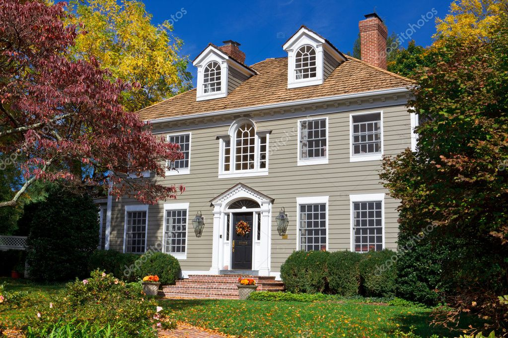 Suburban Single Family House Home Colonial Autumn