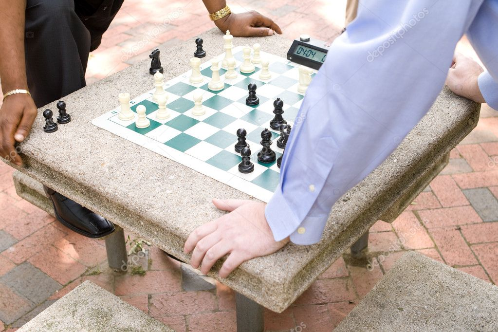 Two Men Playing Chess in a Park — Stock Photo © Qingwa #7894828