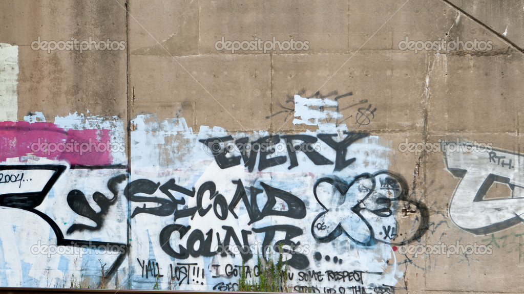 Cement Wall Graffiti : Every second counts graffiti on cement wall — stock photo