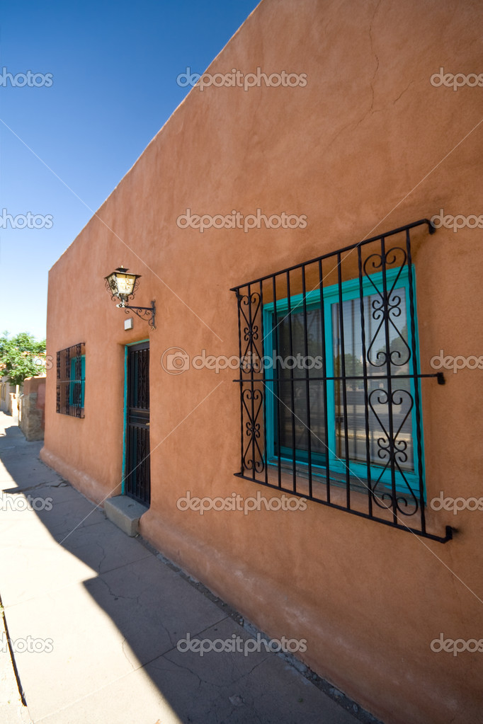 Exterior View of Adobe Home Santa Fe, New Mexico