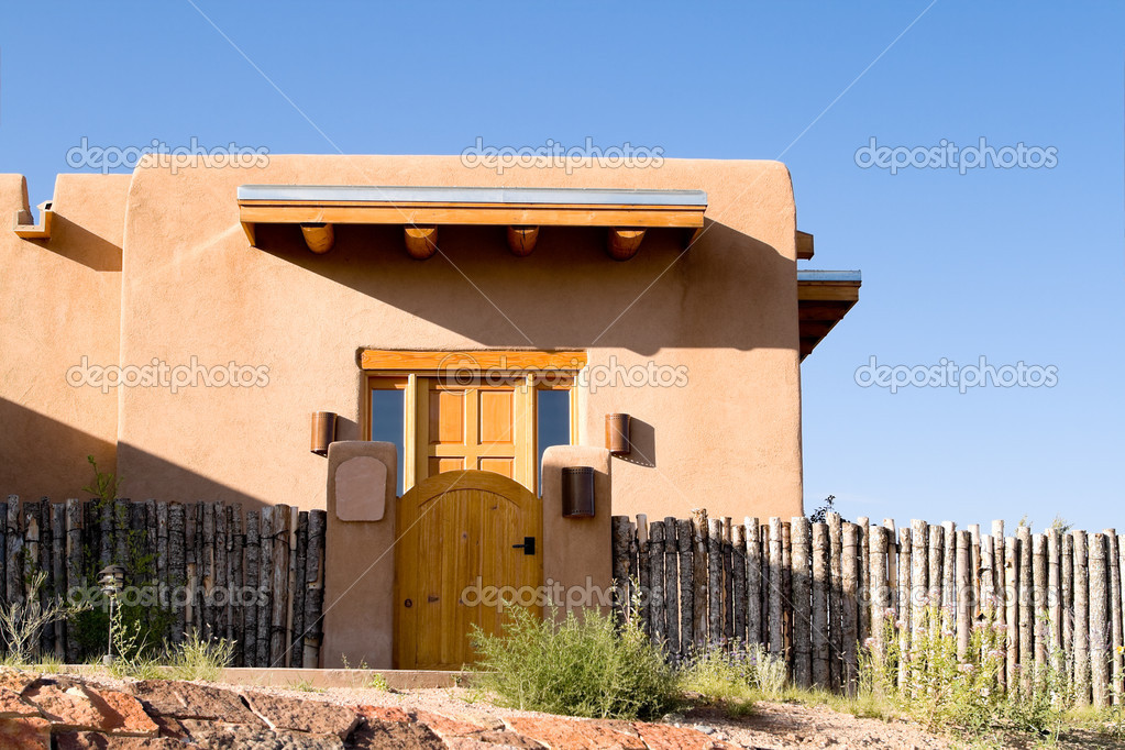 Adobe Single Family Home Fence Santa Fe New Mexico