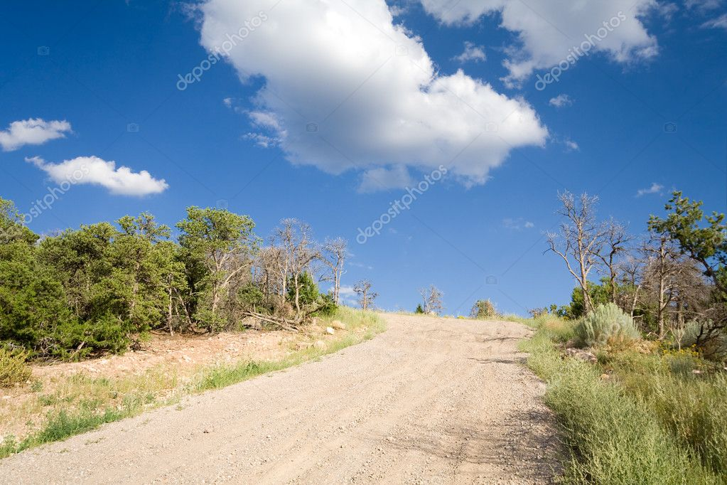 Dirt Road Hill Outside Santa Fe New Mexico Sky