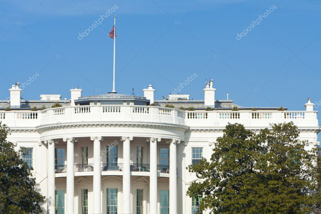 South Side of White House, American Flag, Blue Sky