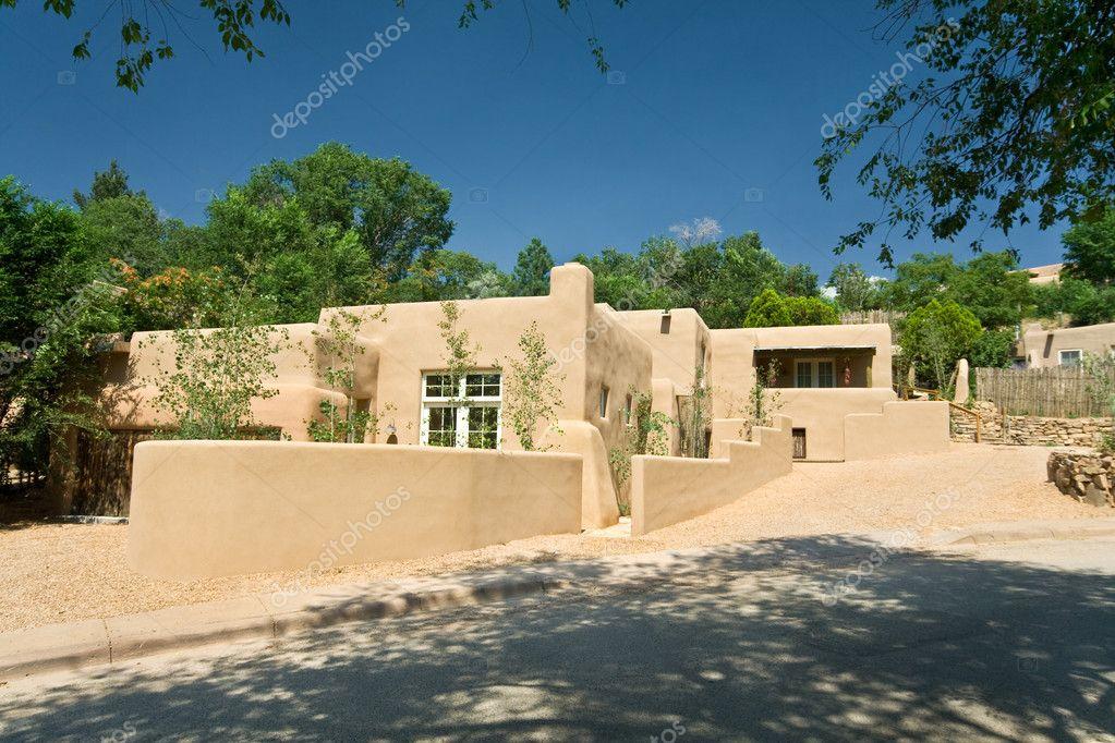 Exterior of a modern adobe santa fe new mexico home for Modern adobe homes