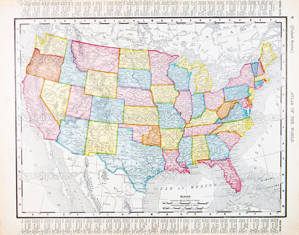 Antique Vintage Map United States America USA Stock Photo - Usa map vintage