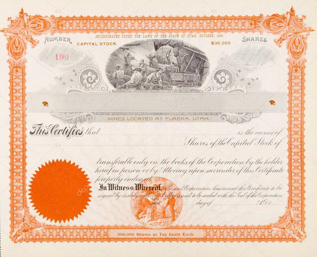 US Aktienzertifikat Mining Company 1898 Bergleute — Stockfoto ...