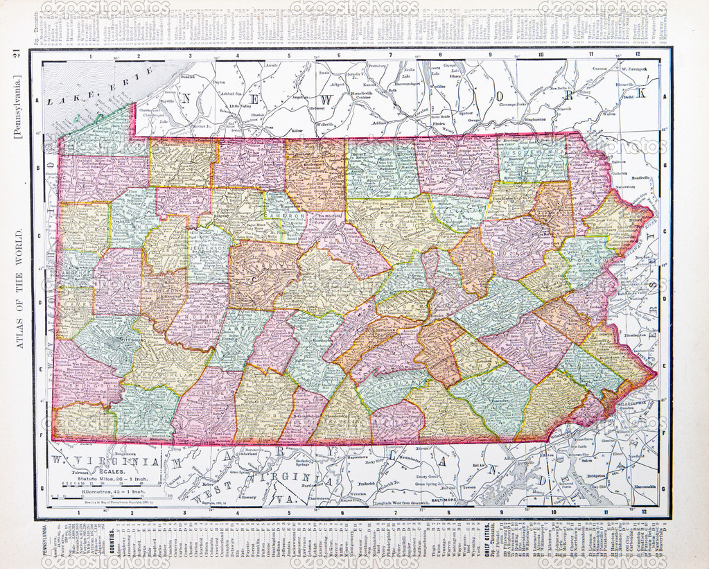 Antique Map Pennsylvania PA United States USA Stock Photo - Pennsylvania in usa map