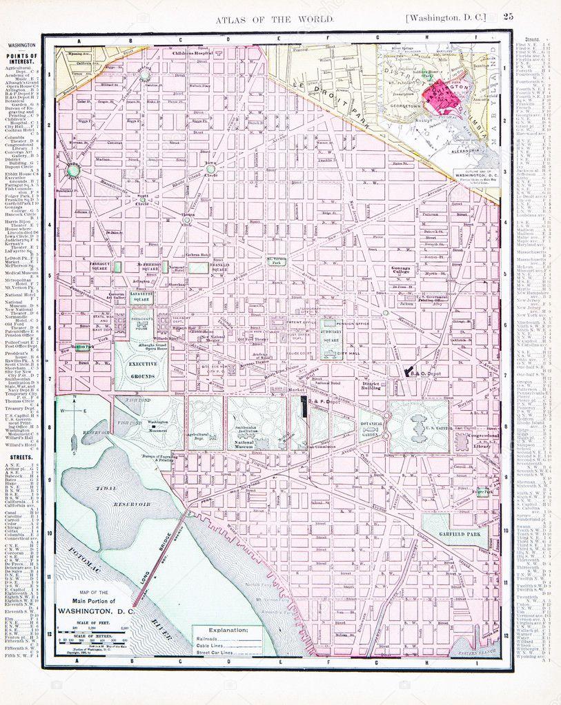 Antique Color Street Map Washington DC USA Stock Photo