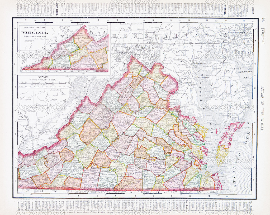 Antique Color Map Virginia Va United States Usa Stock Photo