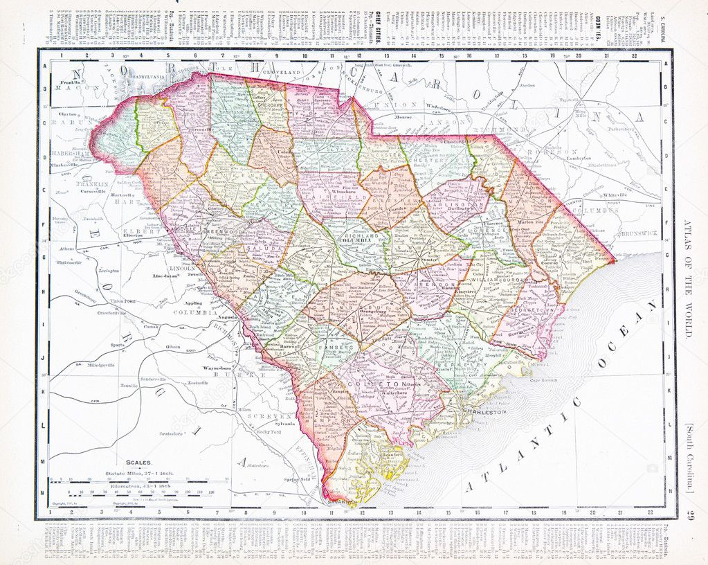 South Carolina Map South C SOUTH CAROLINA MAP Vintage Map of South Carolina