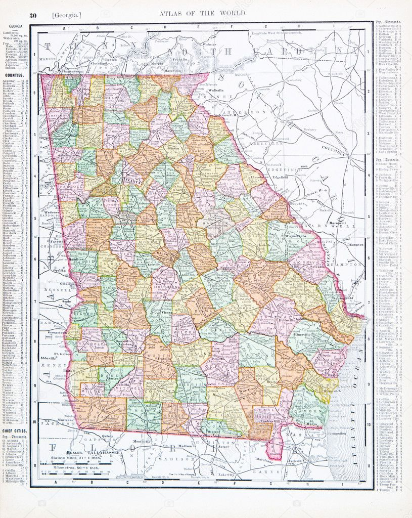 Antique Color Map Of Georgia GA United States USA Stock Photo - Maps of georgia usa