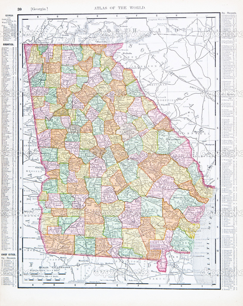 Antique Color Map Of Georgia GA United States USA Stock Photo - Map georgia usa