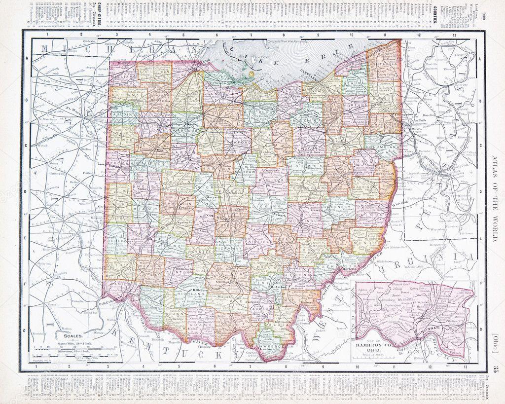 Antique Ohio Map.Antique Color Map Of Ohio Oh United States Usa Stock Photo