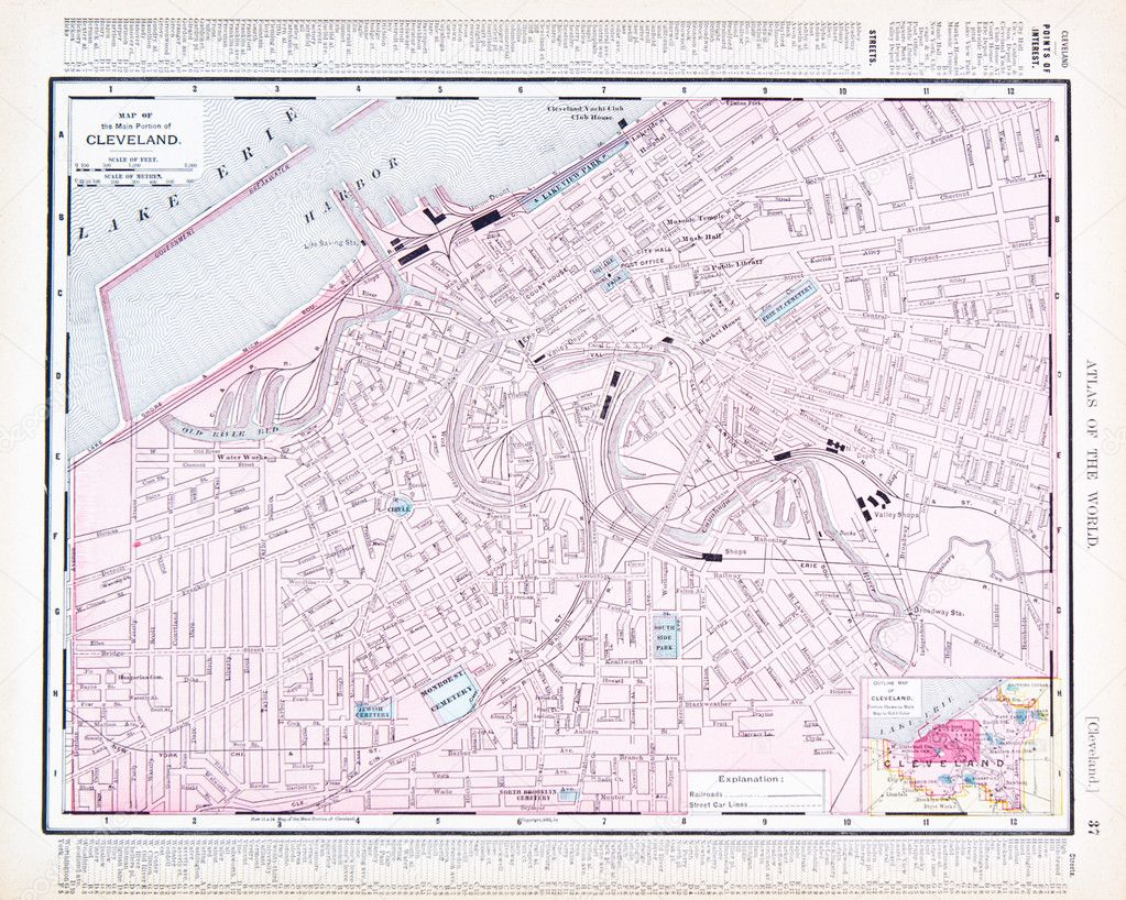Color Street City Map Of Cleveland Ohio Oh Usa Stock Photo - Cleveland-us-map