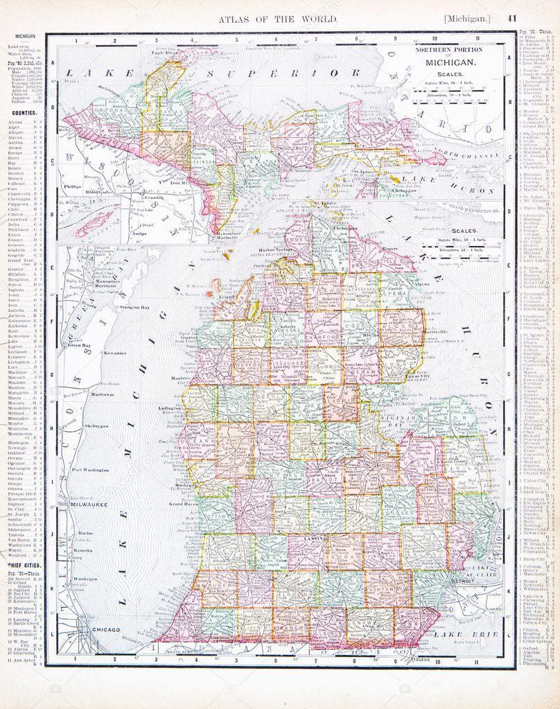 Karta Usa Chicago.Antika Karta Over Michigan Mi Usa Usa Stockfotografi C Qingwa