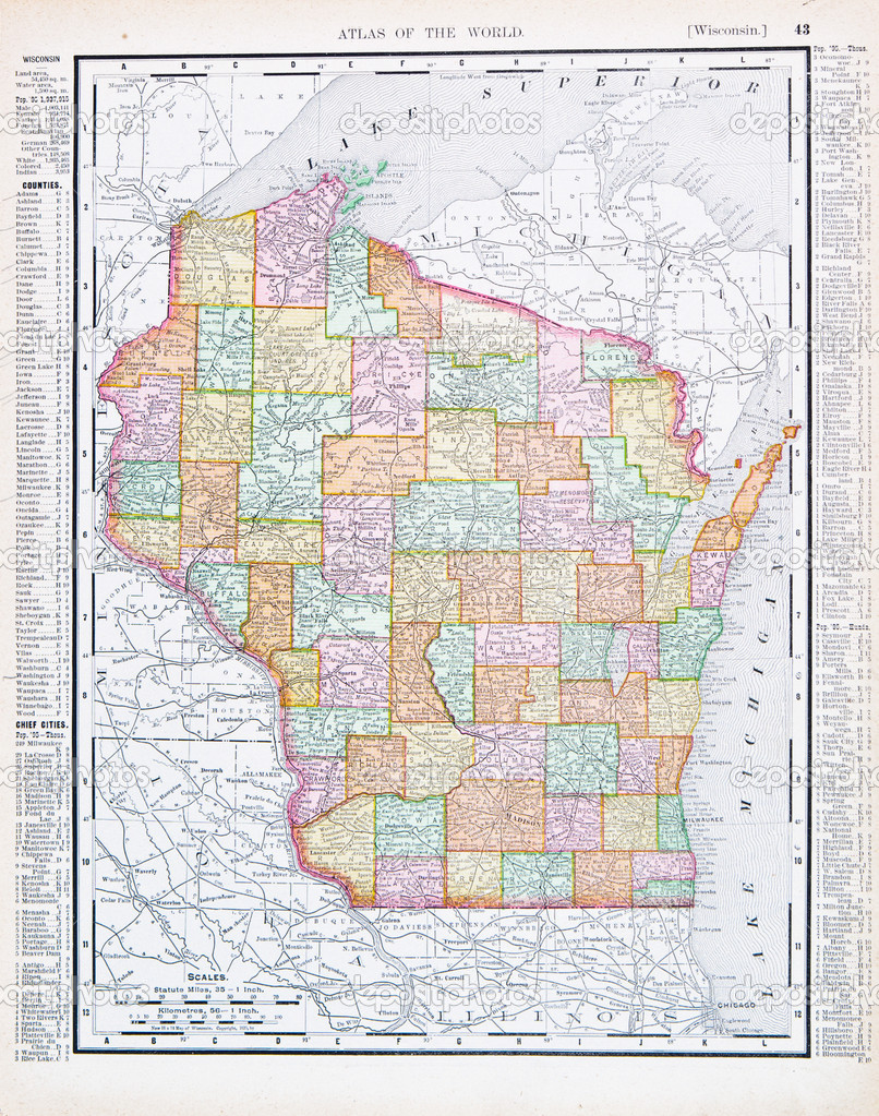 Antique Vintage Color Map Of Wisconsin USA Stock Photo Qingwa - Wisconsin map usa