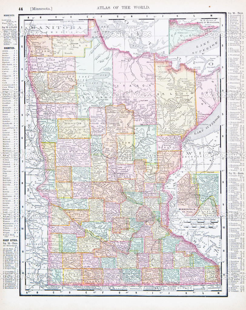 Antique Color Map Minnesota MN United States USA Stock Photo - Mn on us map