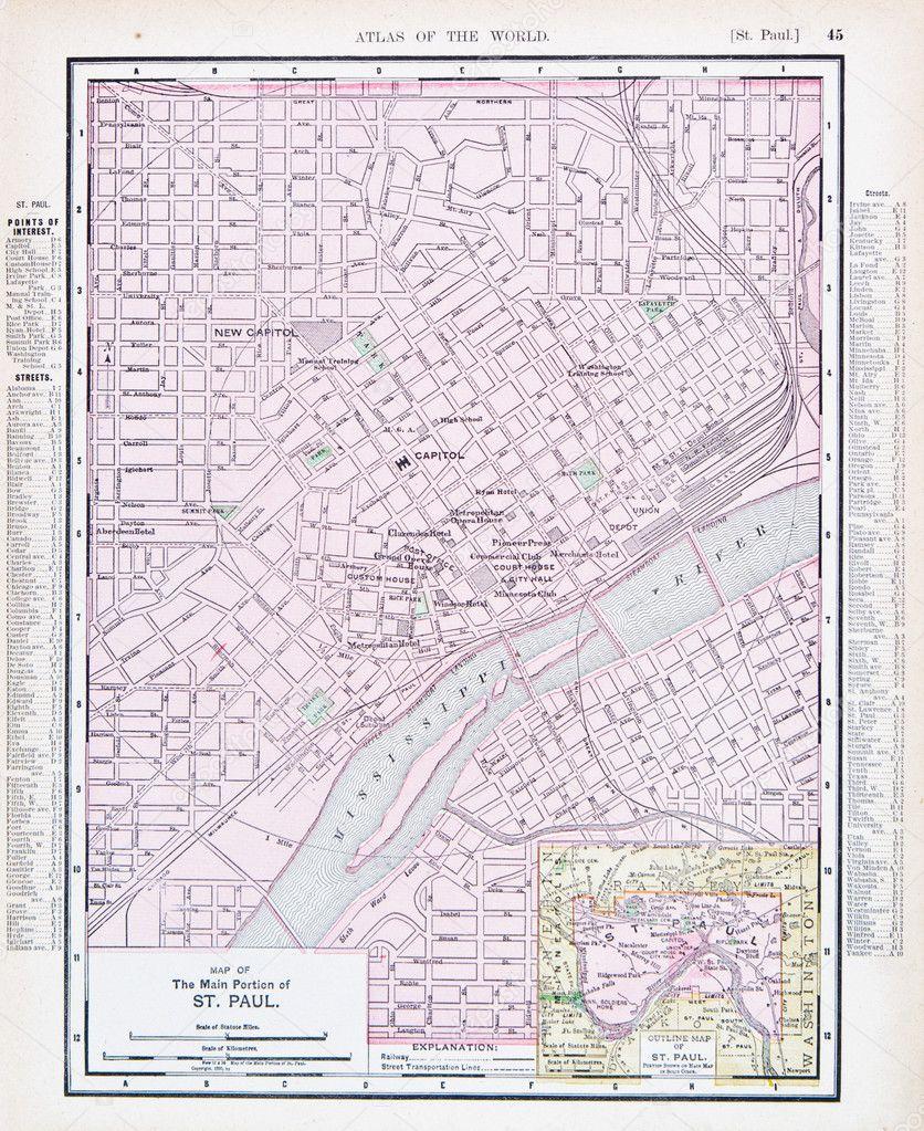 Antique Street City Map St Paul Minnesota USA Stock Photo - Minnesota city map