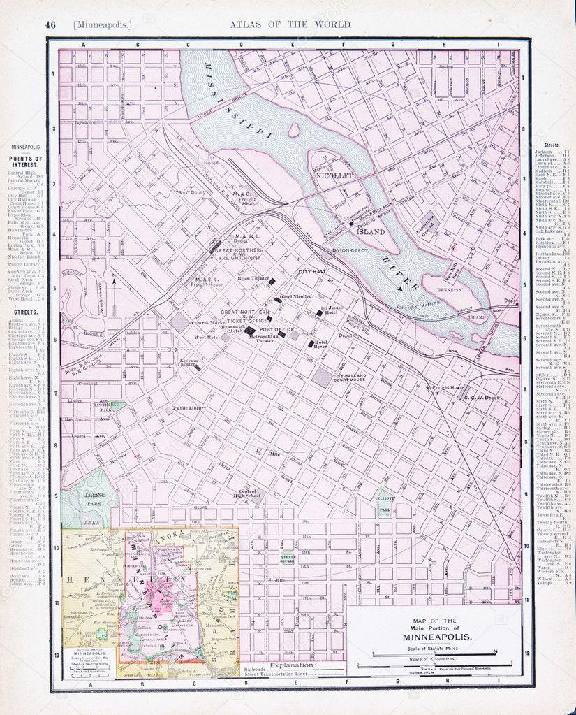 Antique Street City Map Minneapolis, Minnesota MN — Stock ...
