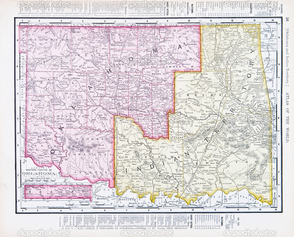 Antique Vintage Map Oklahoma Indian Territory USA Stock Photo - Us map of indian territories