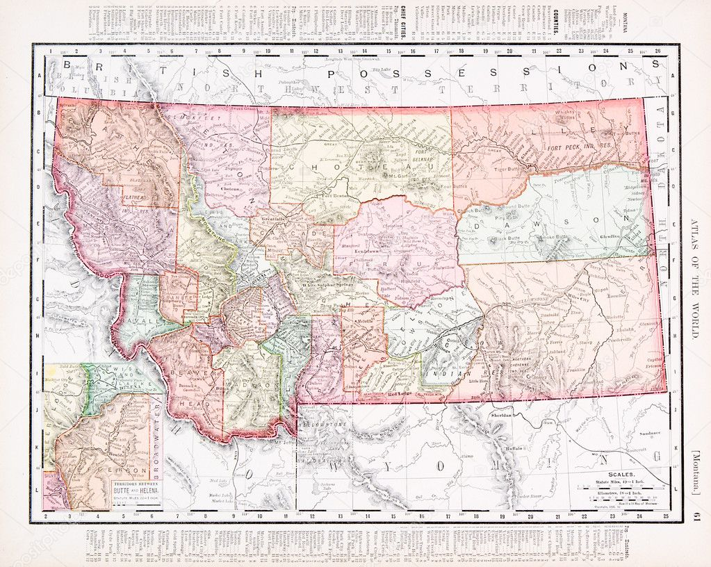 Antique Vintage Color Map Of Montana United States Stock Photo - Montana us map