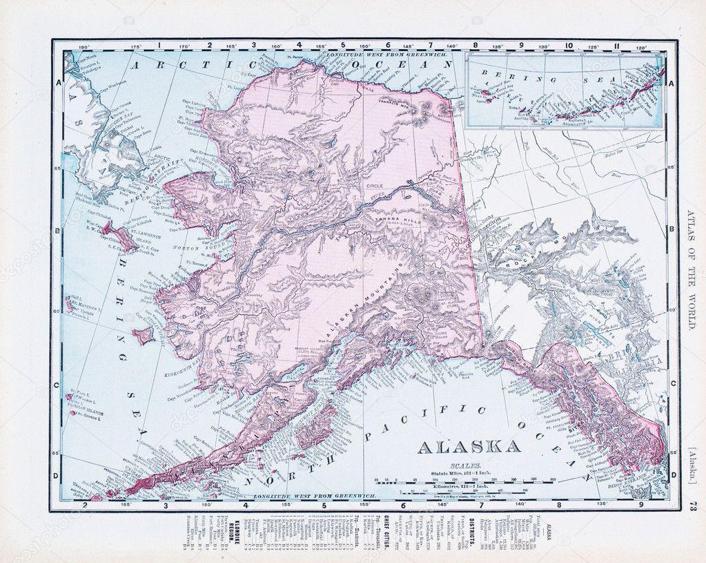 Antique Vintage Color Map of Alaska USA Stock Photo Qingwa
