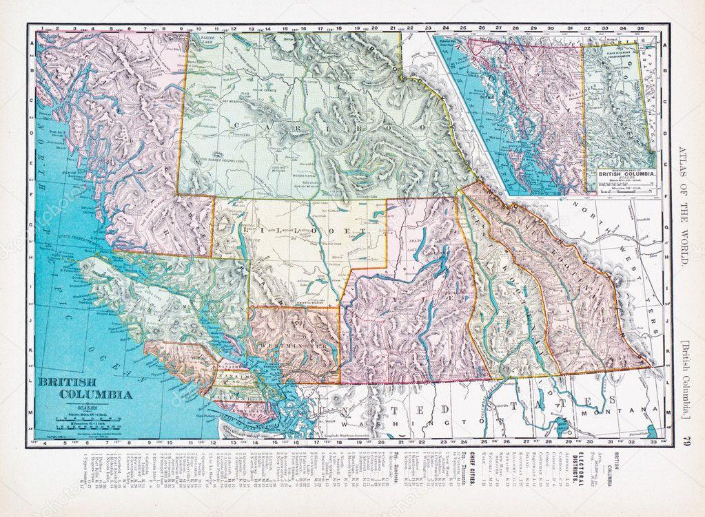 Antike Vintage Farbe Landkarte British Columbia, Kanada — Stockfoto ...