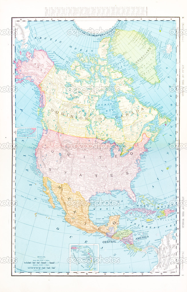 Antique Color Map North America Canada Mexico USA Stock Photo - Mexico usa map