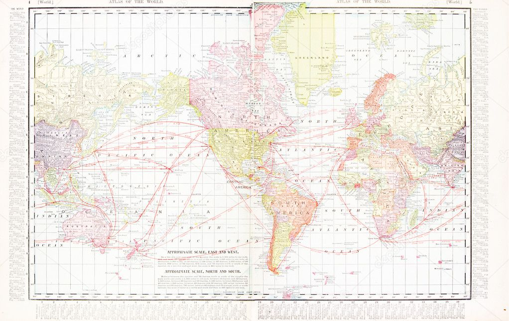 America centric antique vintage color world map stock photo vintage world map stitched from 2 original files map has the americas at the center 1900 photo by qingwa gumiabroncs Choice Image