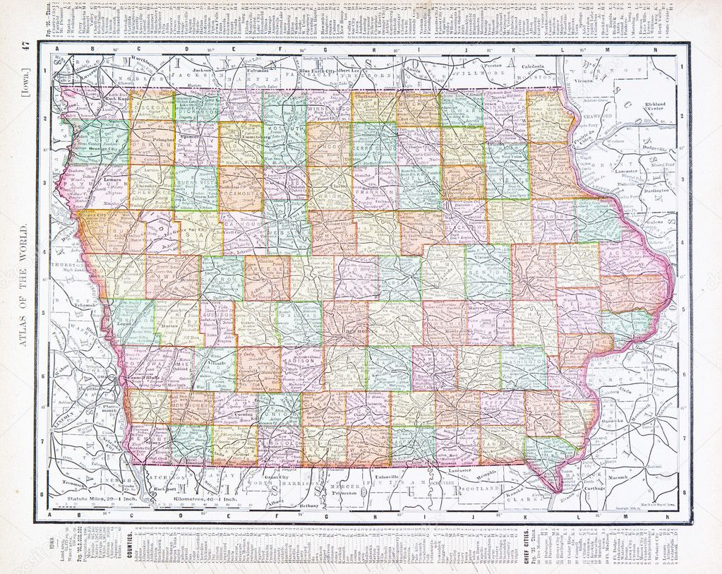 Antique Vintage Color Map Of Iowa USA Stock Photo Qingwa - Iowa usa map