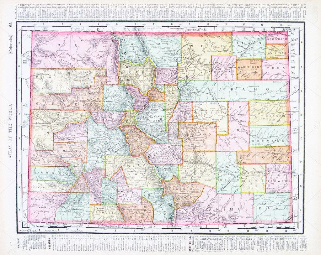 antike Farbe Karte von Colorado, Vereinigte Staaten, usa — Stockfoto ...