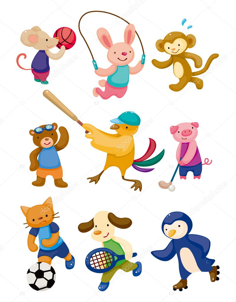 Cartoon animal sport player