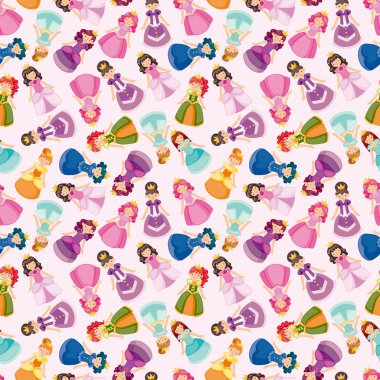 cartoon beautiful princess seamless pattern