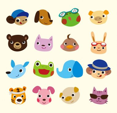Cartoon animal face set