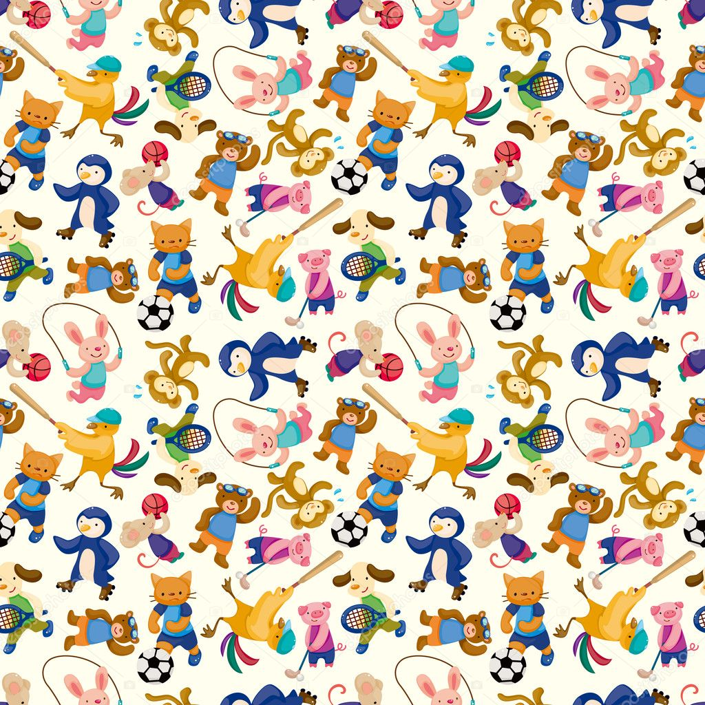 cartoon animal sport player seamless pattern u2014 stock vector