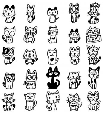 hand draw cartoon cat icon