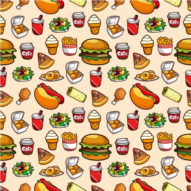 Seamless fast food pattern stock vector