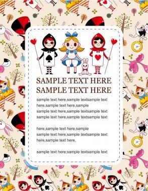 Seamless Alice in Wonderland card stock vector