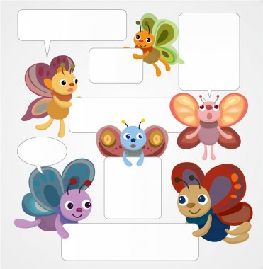 Cartoon butterfly card speech